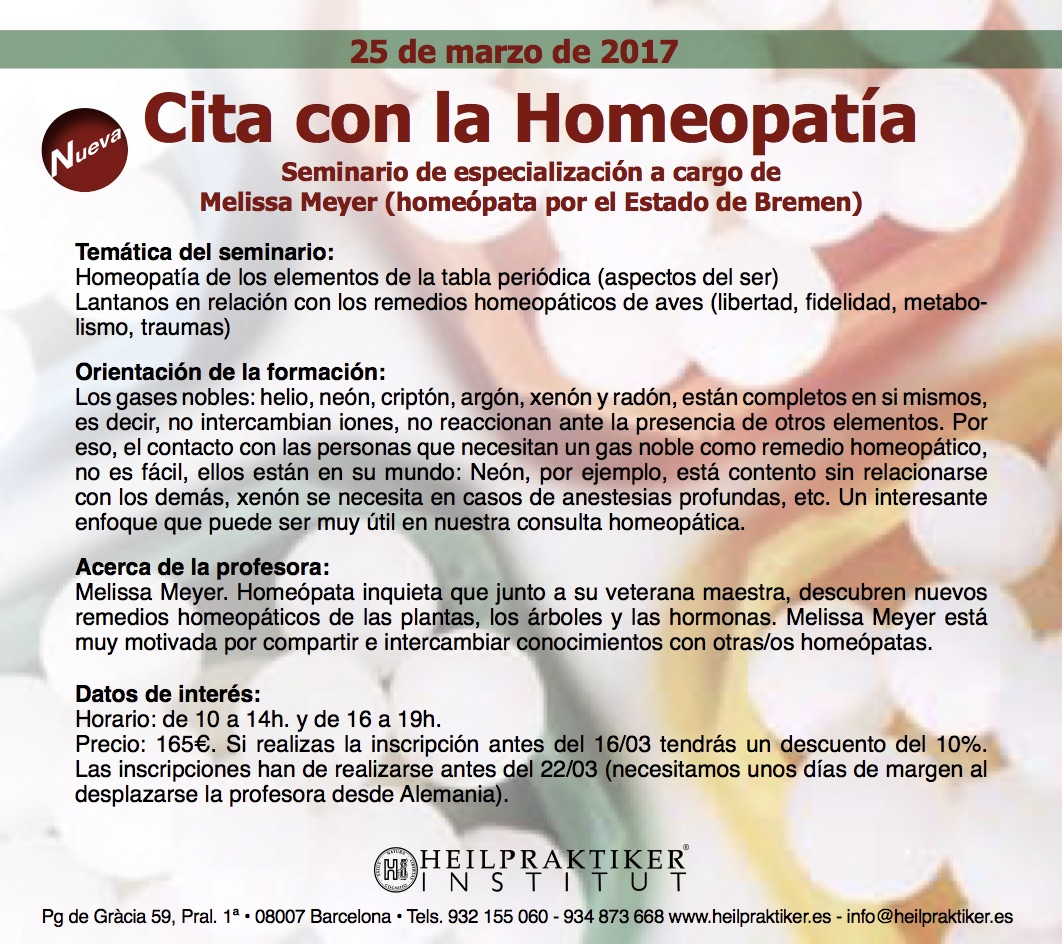 Cita con la Homeopatía 25.3.2017