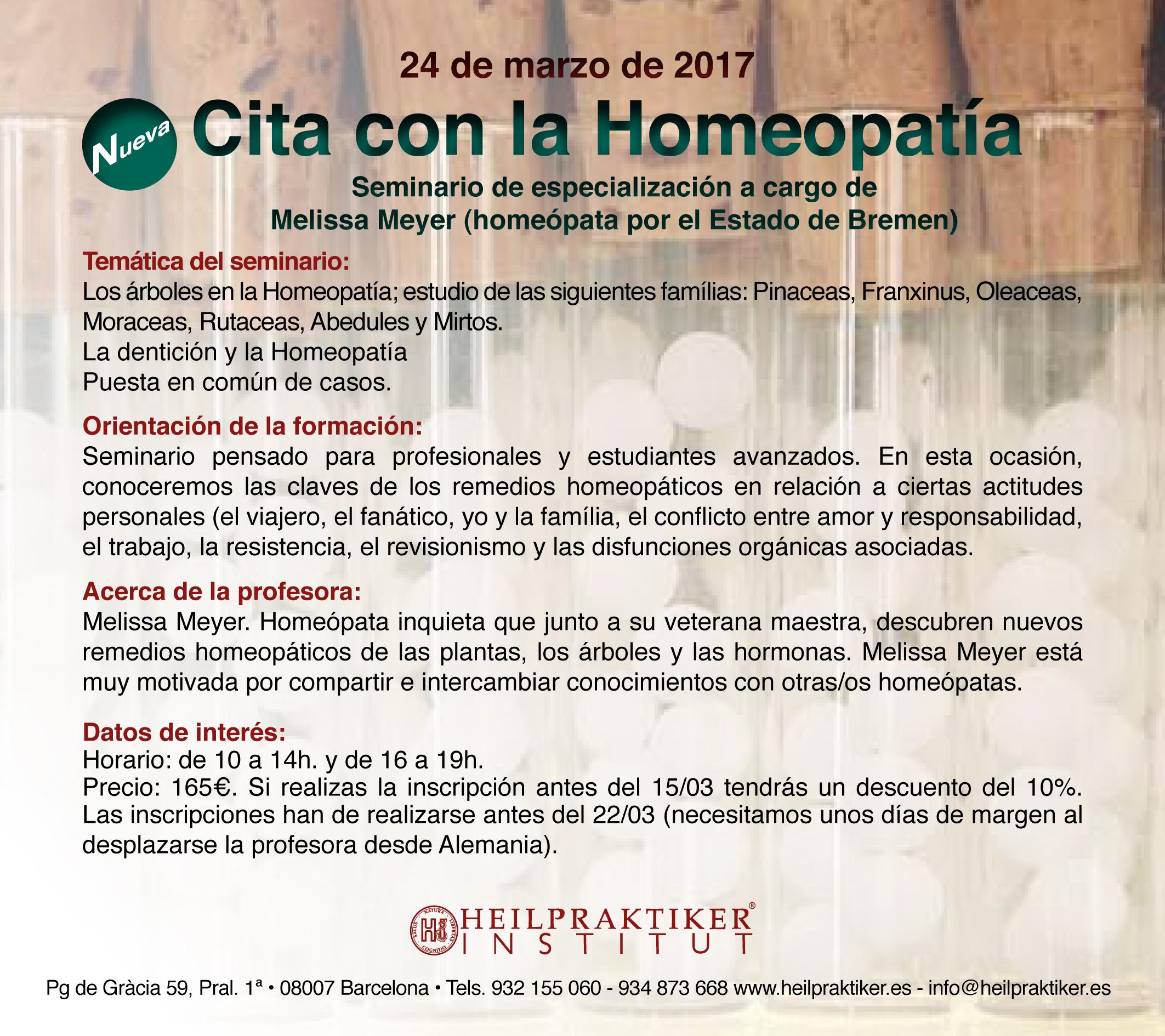 Cita con la Homeopatía 24.3.2017